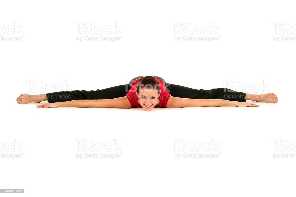 Woman doing a split royalty-free stock photo