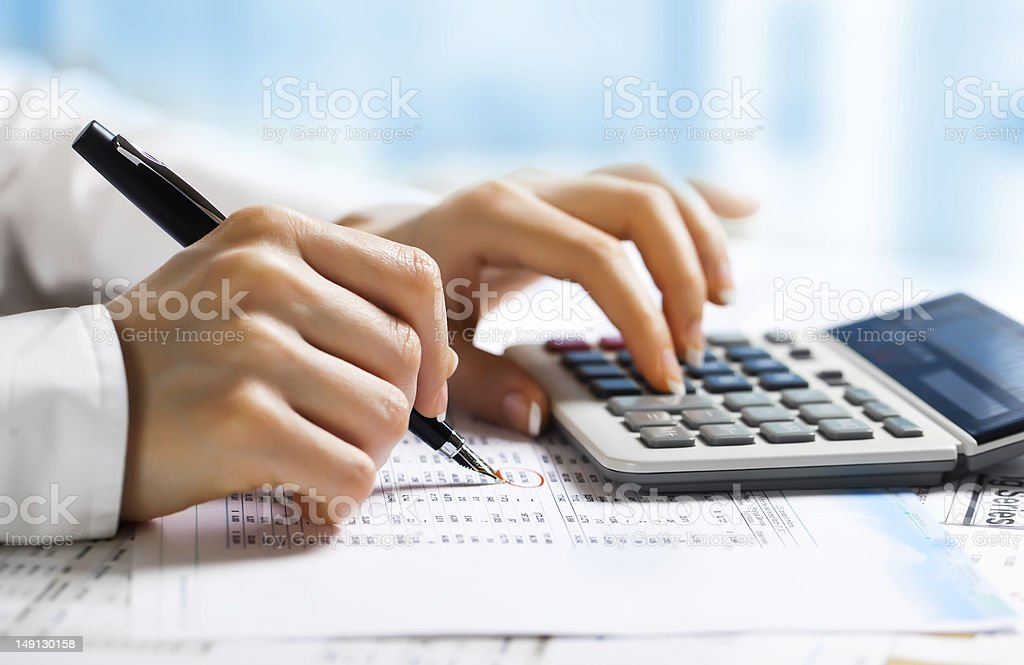 Woman doing accounting services stock photo