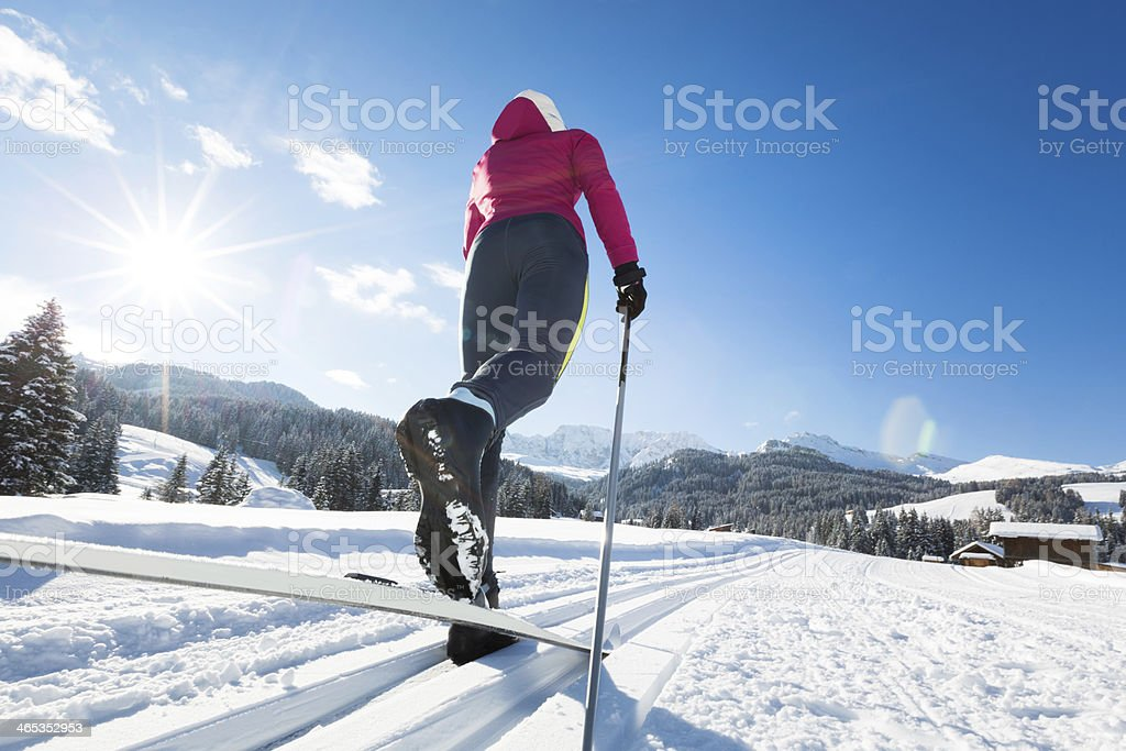 Woman Doing Cross-Country Skiing stock photo
