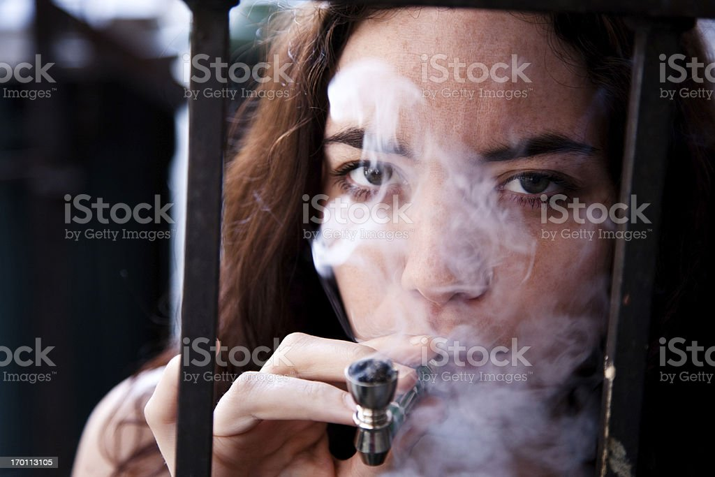 Woman doing drugs stock photo