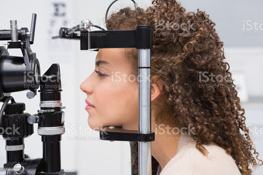 Woman doing eye test stock photo