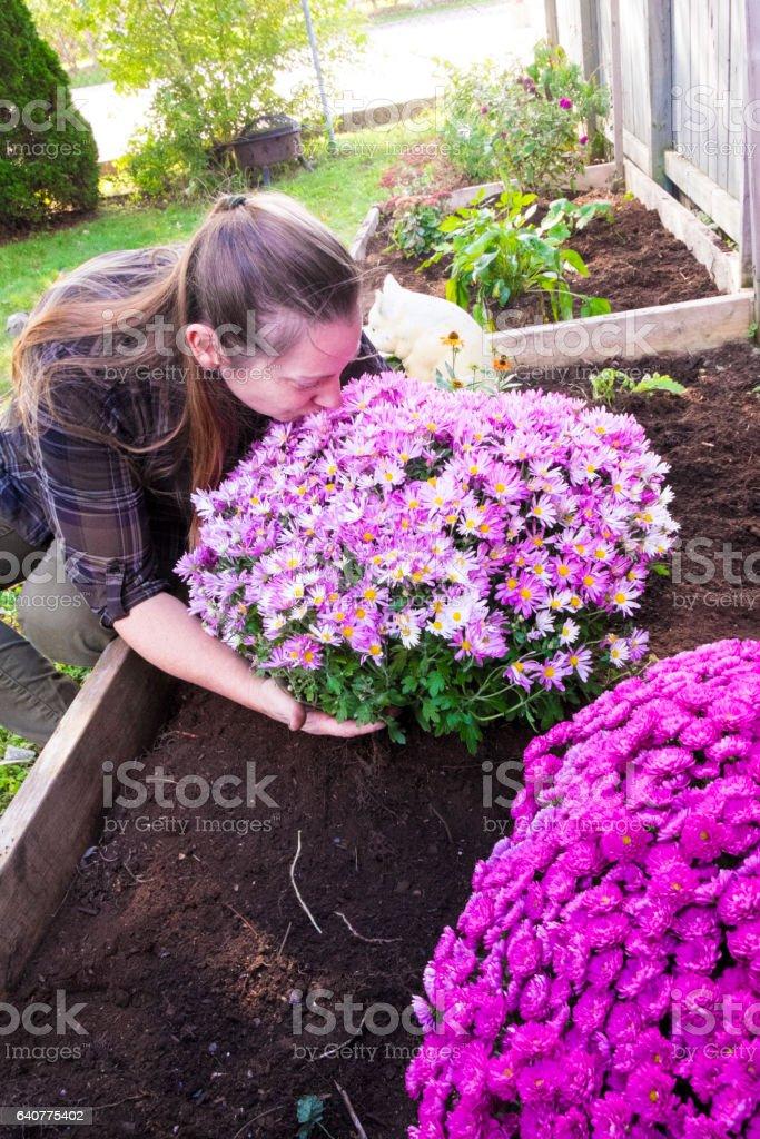 Woman Doing Fall Maintenance In Her Garden stock photo