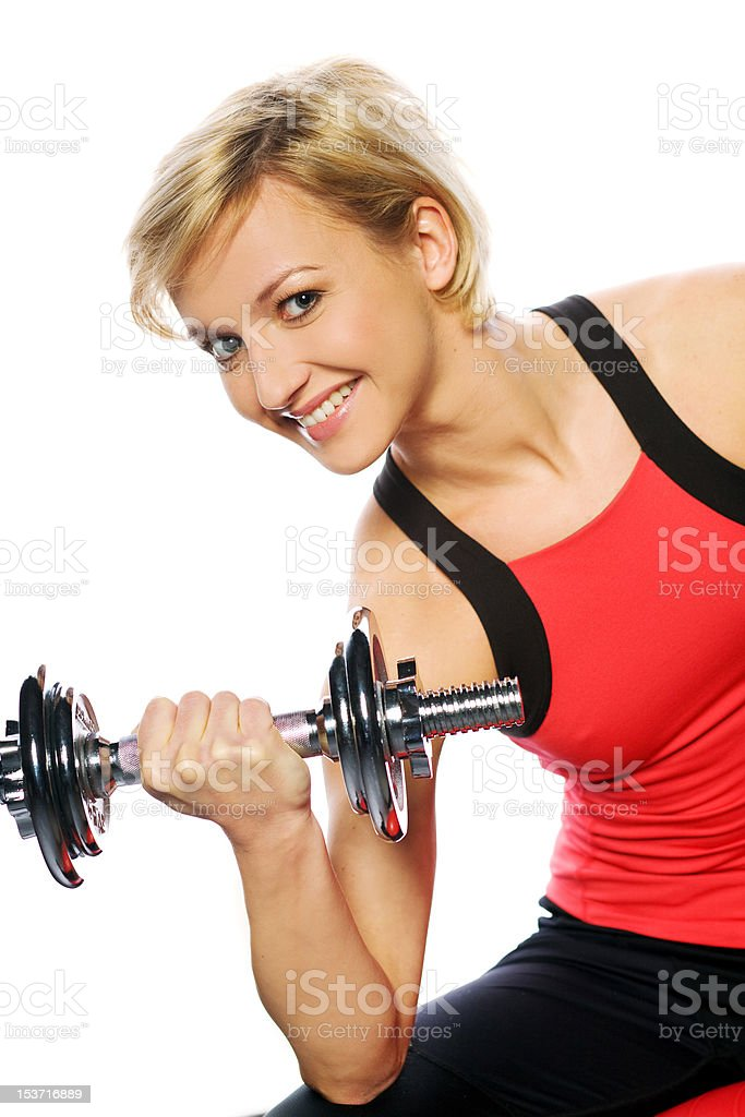 Woman doing fitness exercise royalty-free stock photo