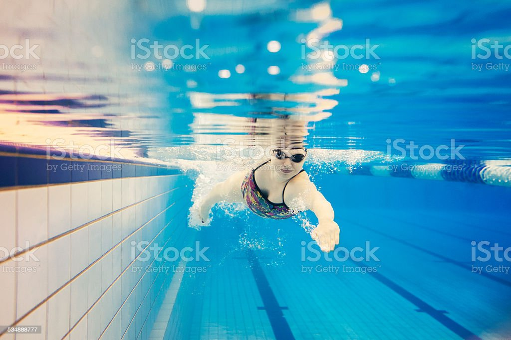 Woman Doing Front Crawl stock photo