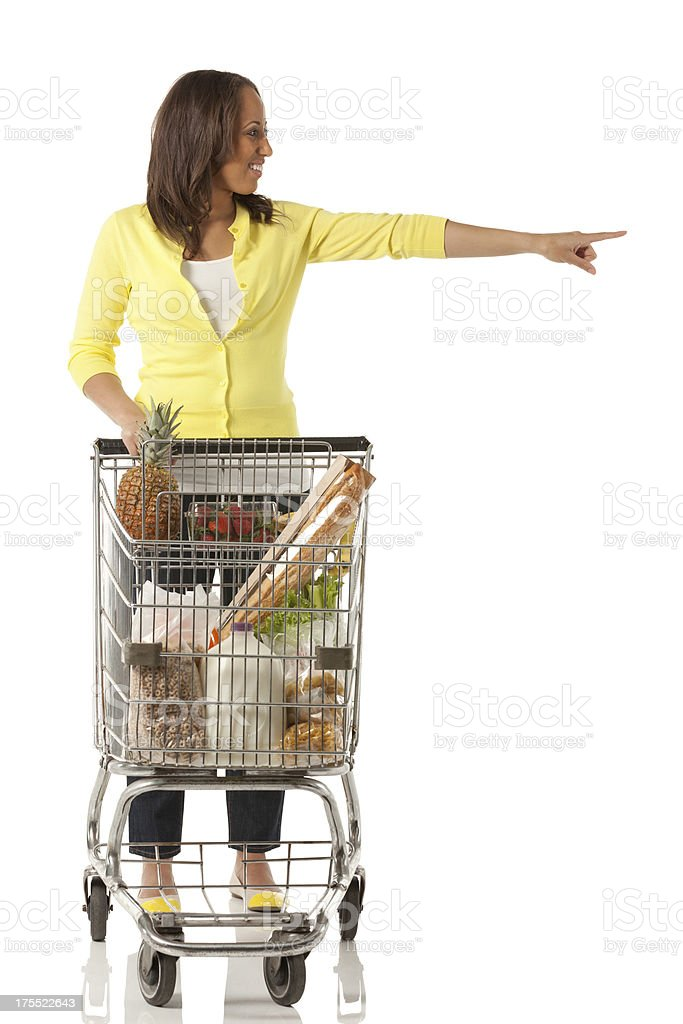 Woman doing grocery shopping royalty-free stock photo