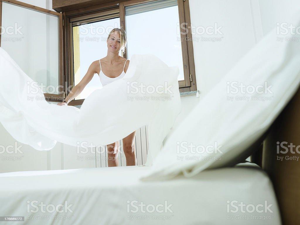 woman doing housework stock photo