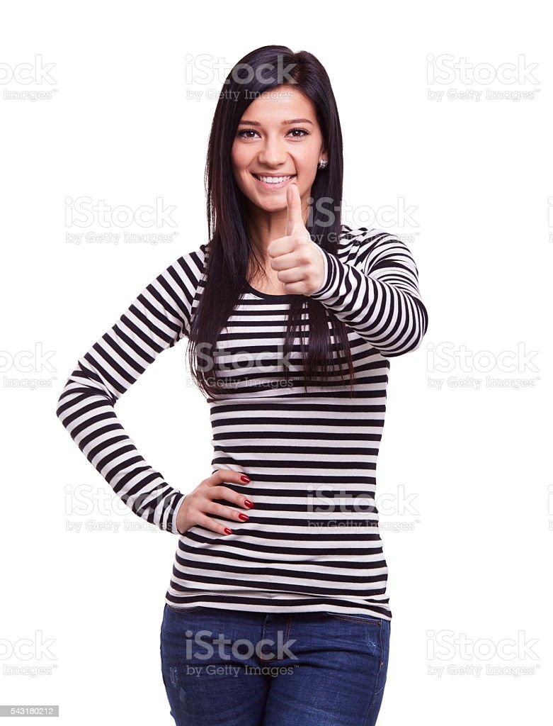 Woman doing ok gesture stock photo