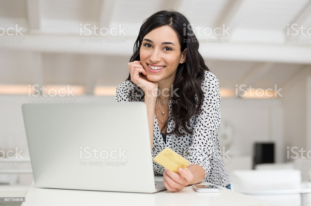 Woman doing online shopping stock photo