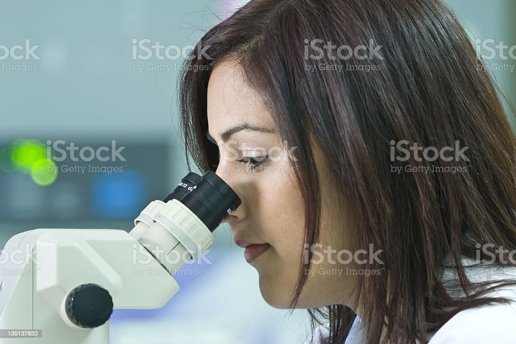 Woman Doing Research Looking Through A Microscope royalty-free stock photo
