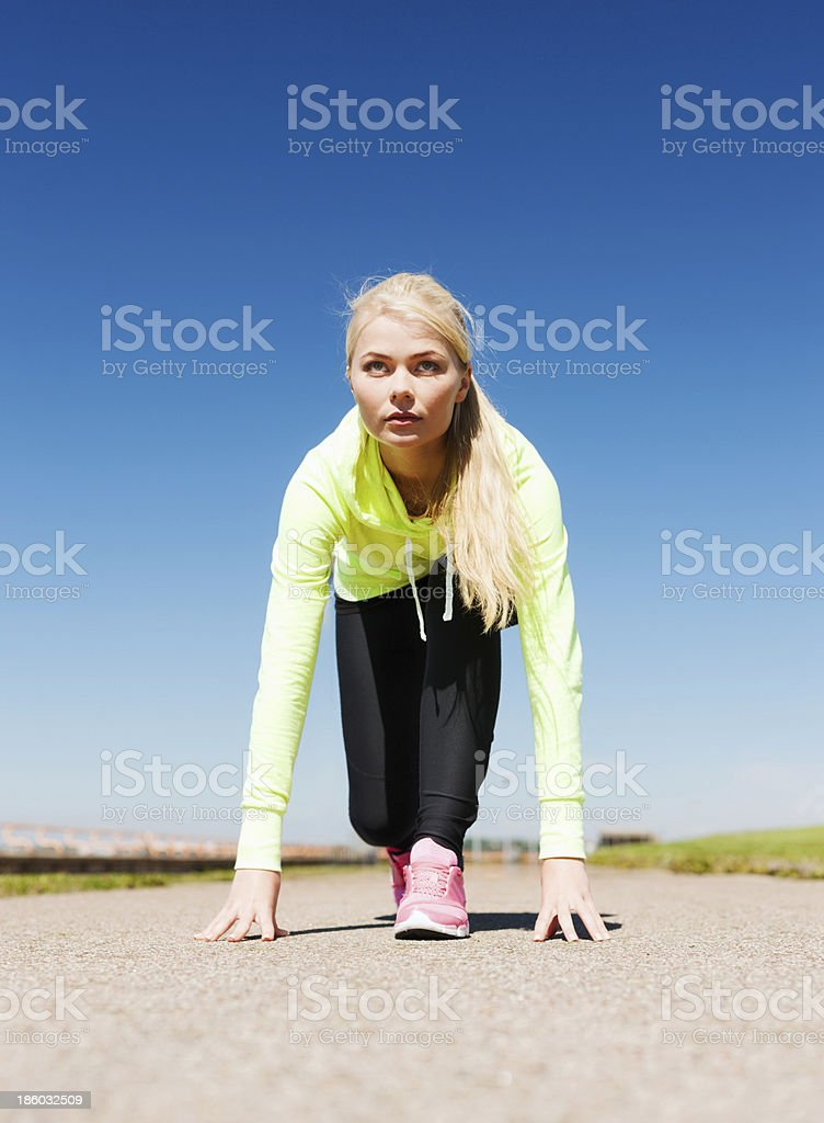 woman doing running outdoors royalty-free stock photo