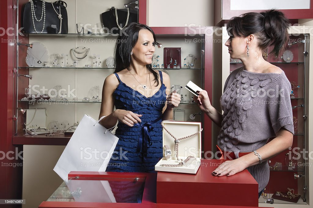 woman doing shopping at the store stock photo