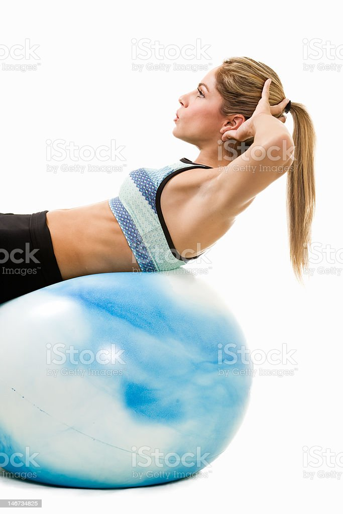 Woman doing sit ups royalty-free stock photo
