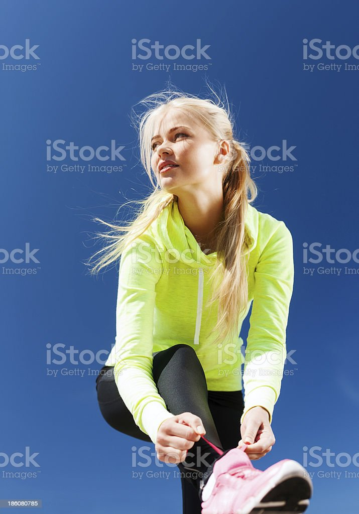 woman doing sports outdoors royalty-free stock photo