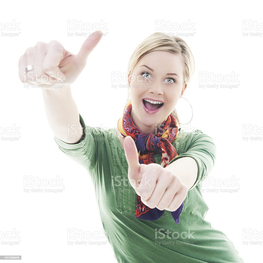 Woman doing thumbs up royalty-free stock photo