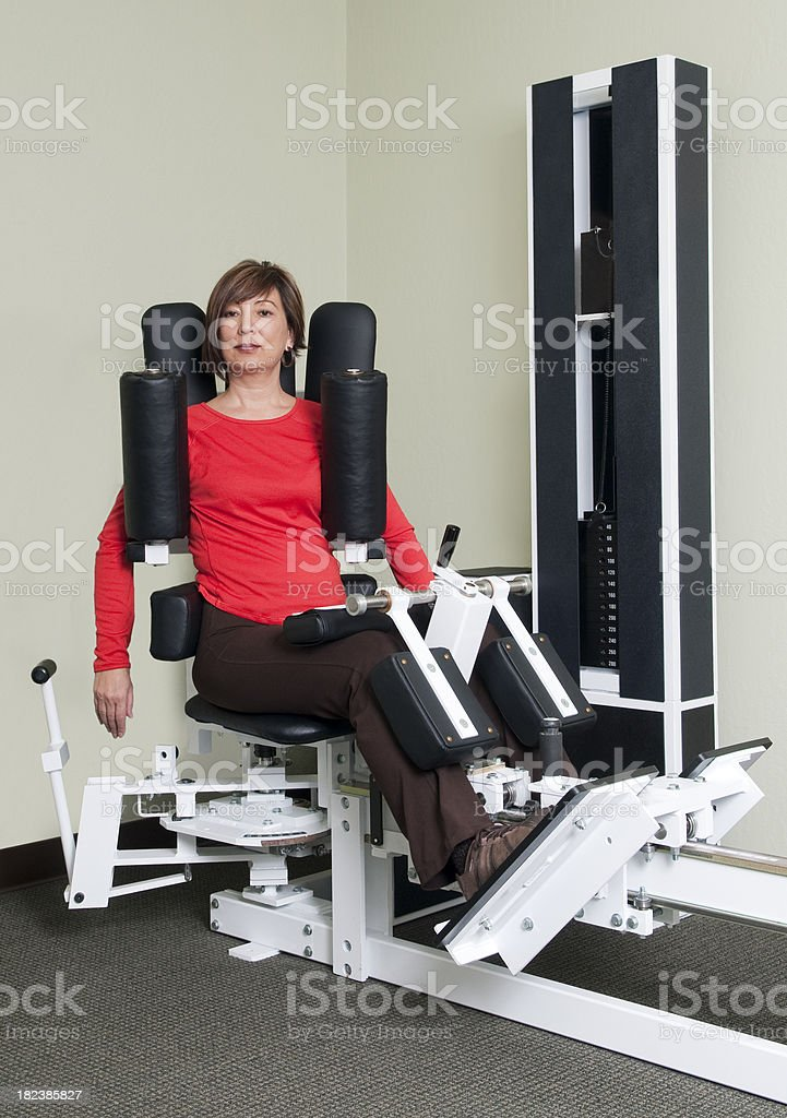 Woman Doing Torso Exercise - Physical Therapy Series stock photo