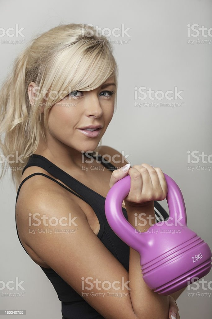 woman doing weigths royalty-free stock photo