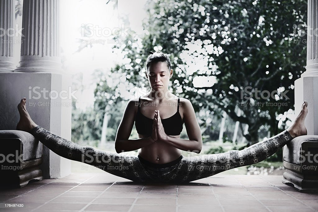 Woman doing yoga at home. royalty-free stock photo