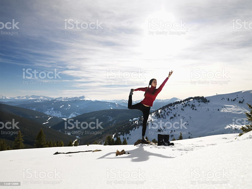 Woman doing yoga in nature. royalty-free stock photo