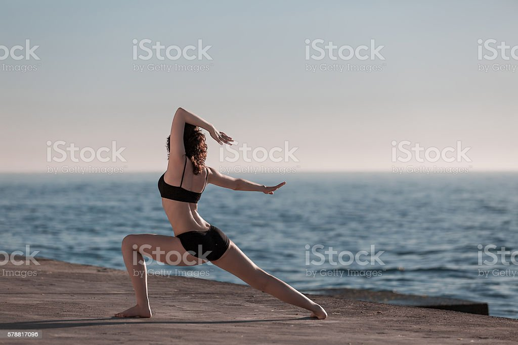 woman doing yoga royalty-free stock photo