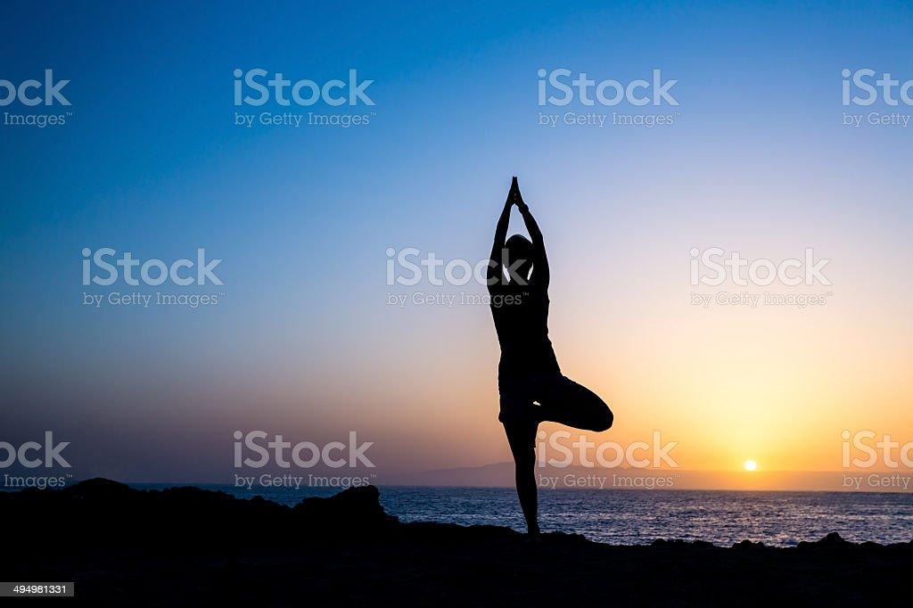 Woman doing yoga tree sunset silhouette stock photo