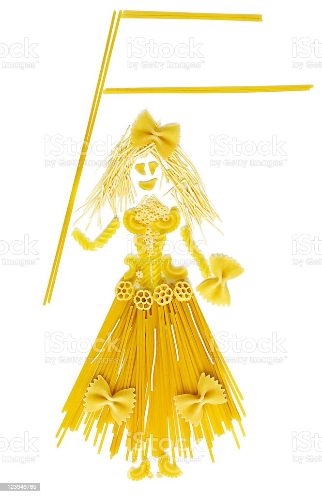 Woman doll made by pasta with blank flag royalty-free stock photo