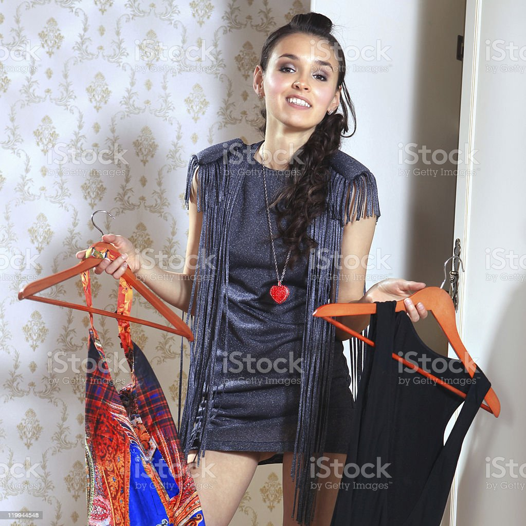 woman don't know what to wear stock photo