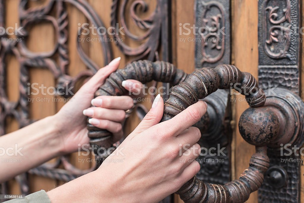 woman door retro stock photo