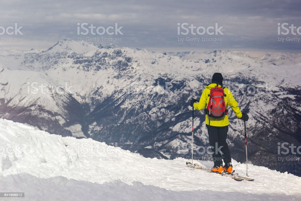 Woman downhill skiing stock photo