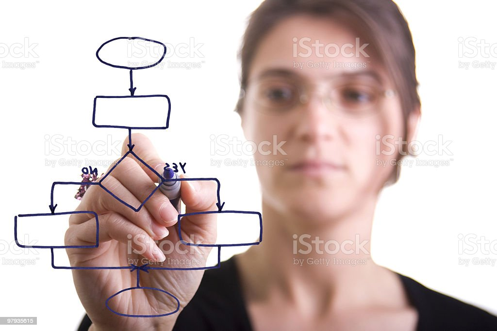 Woman drawing a diagram royalty-free stock photo