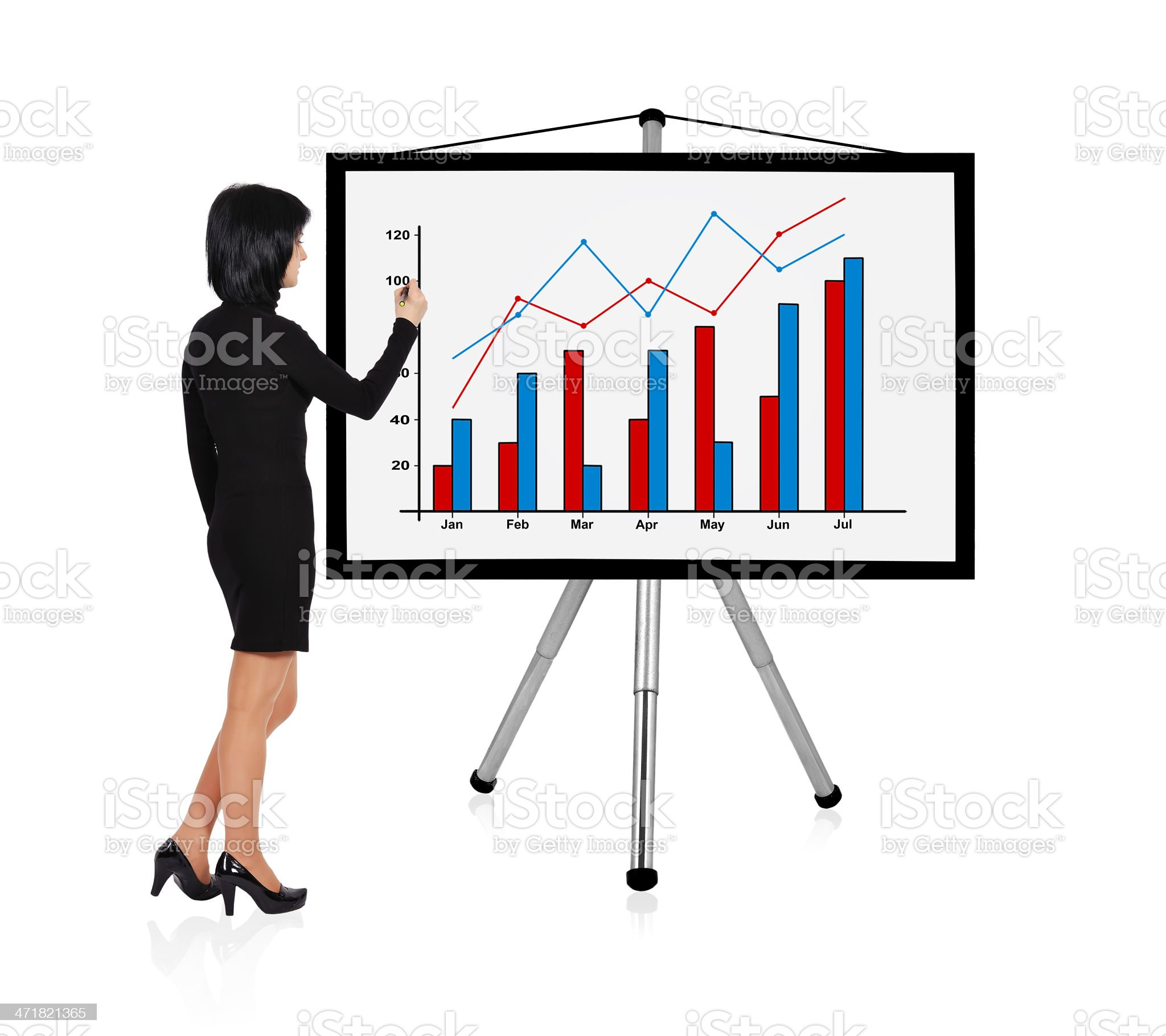 woman drawing chart royalty-free stock photo