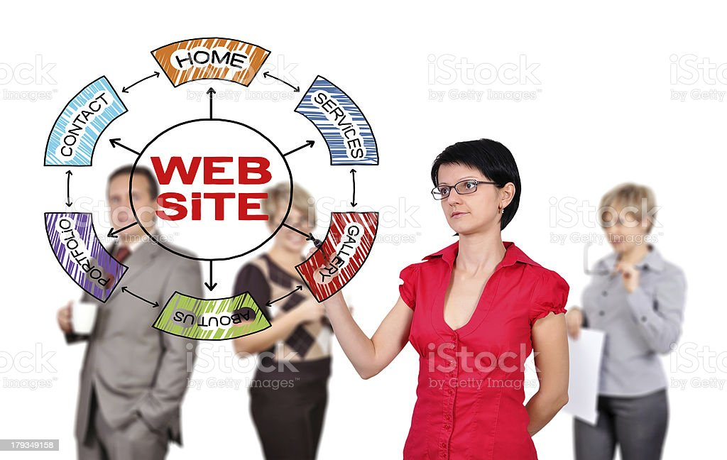 woman drawing scheme website royalty-free stock photo
