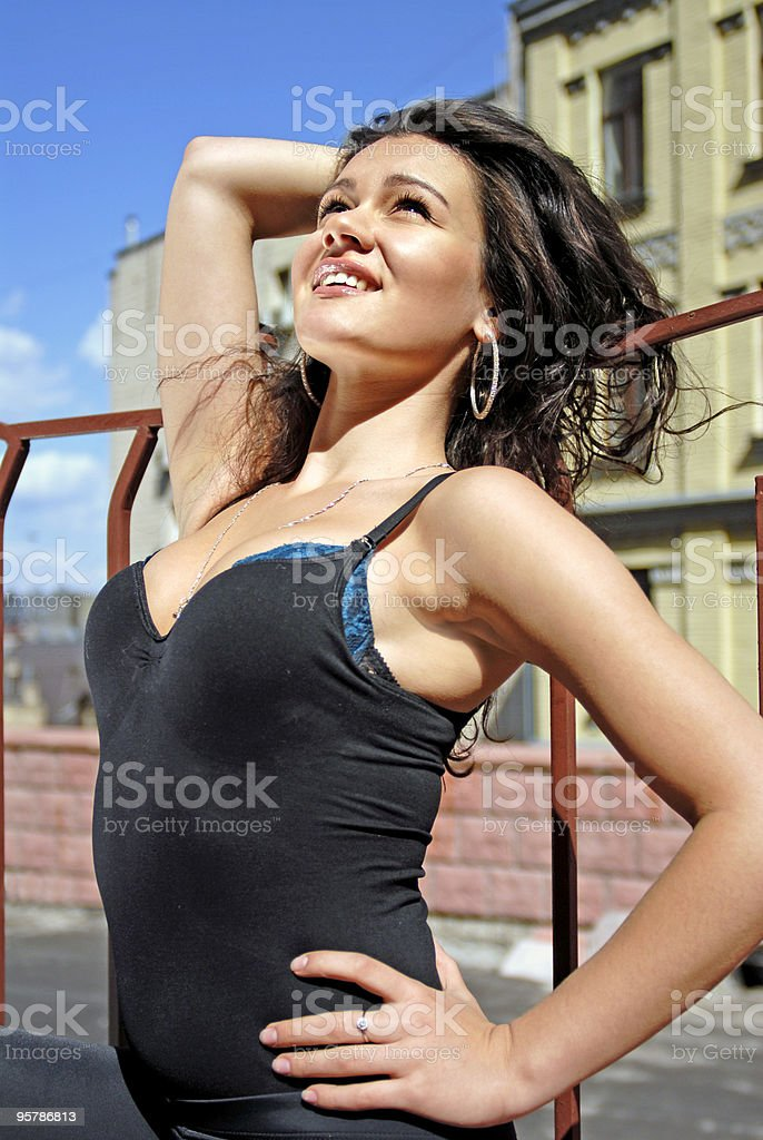 woman dreams about her happy life stock photo