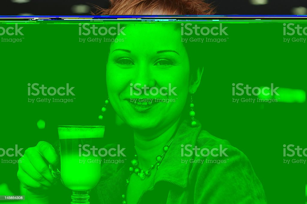 woman dreanking coffe in cafe and smiling happy royalty-free stock photo