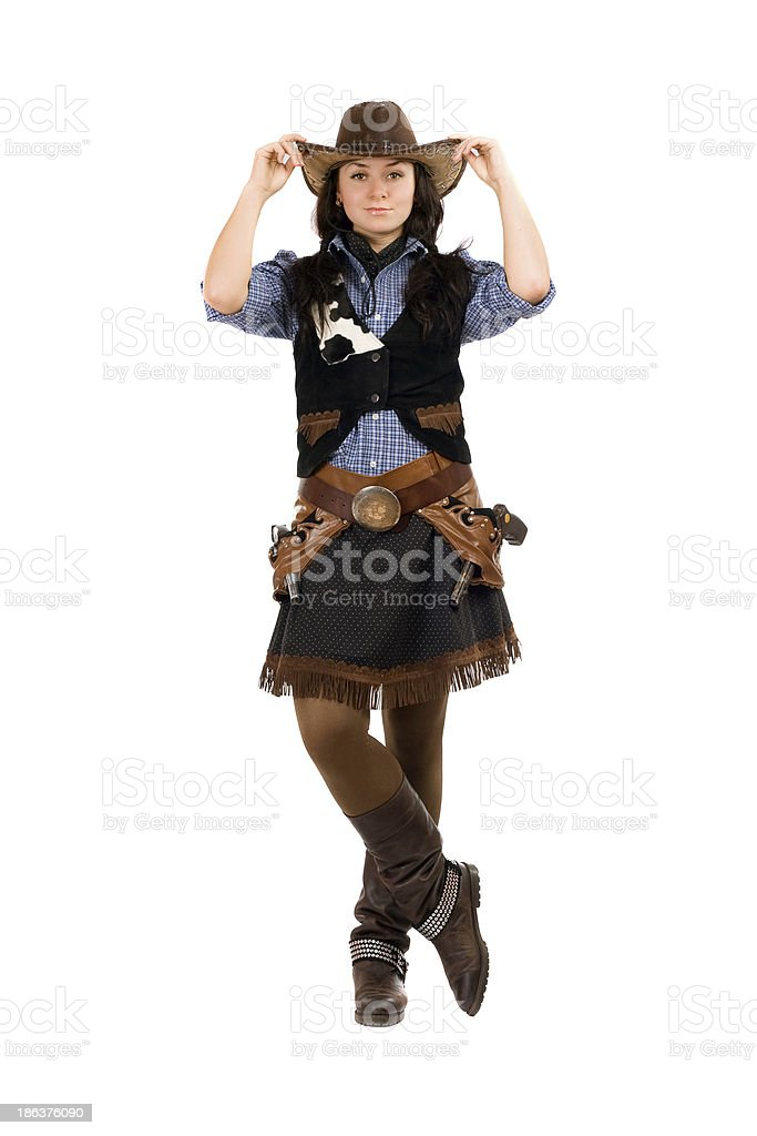 woman dressed as a cowboy royalty-free stock photo
