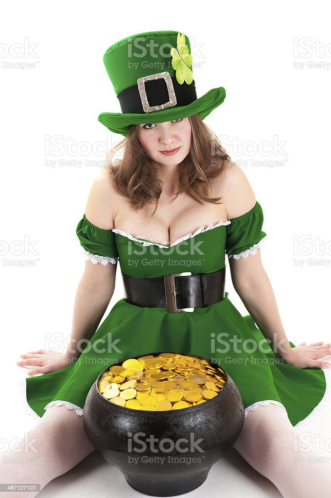 woman dressed as a leprechaun stock photo