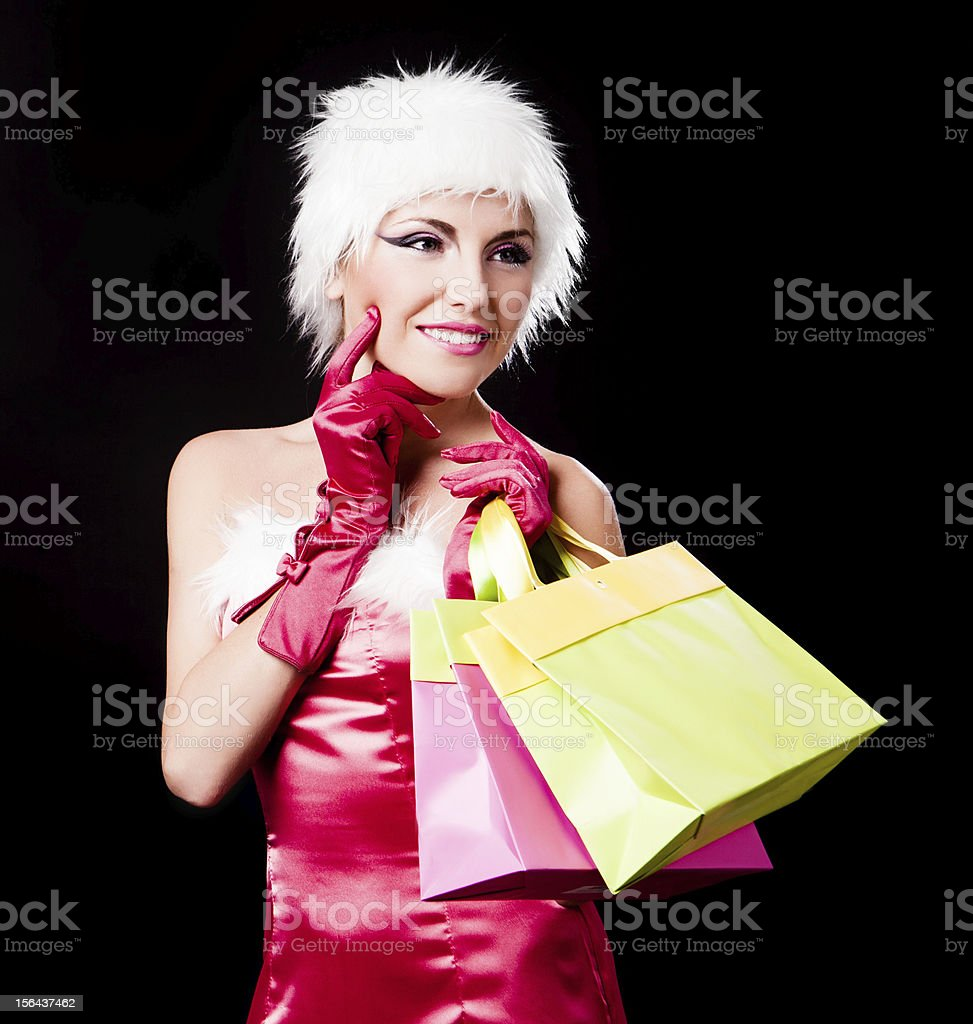 woman dressed as Santa royalty-free stock photo