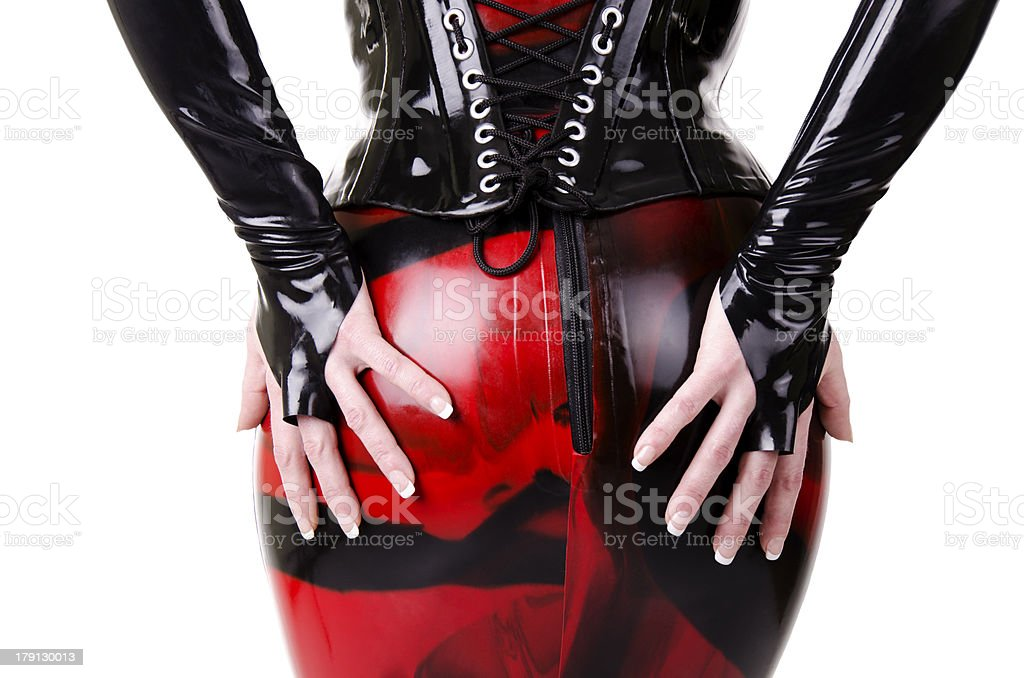Woman dressed in dominatrix clothes stock photo