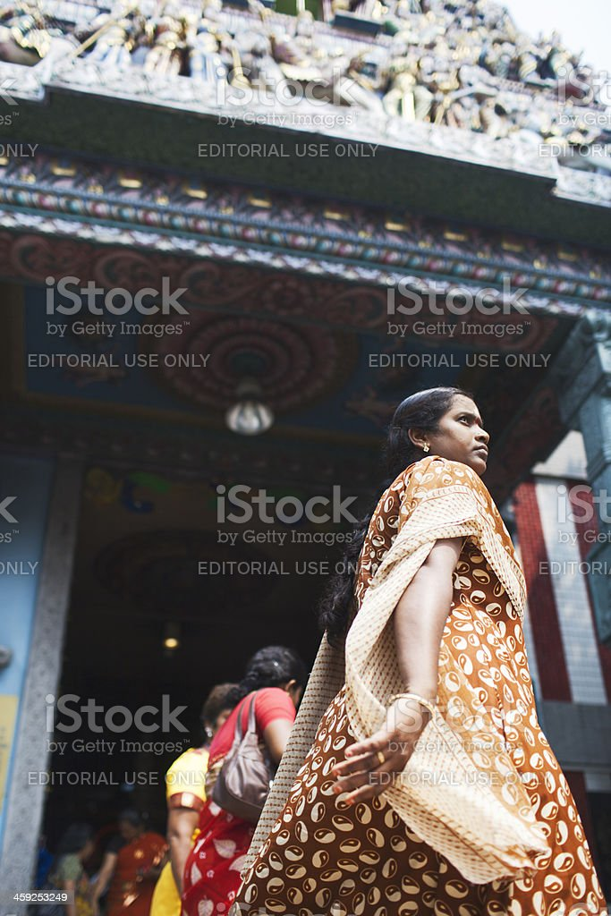 Woman dressed in hindu traditional clothing. stock photo