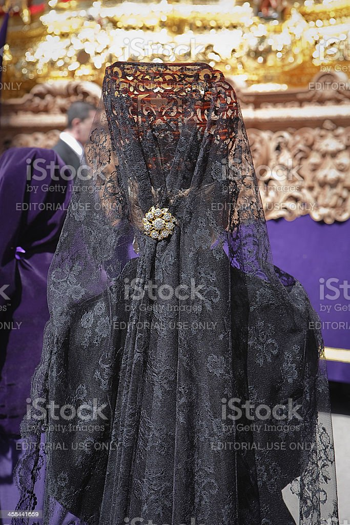 Woman dressed in mantilla royalty-free stock photo