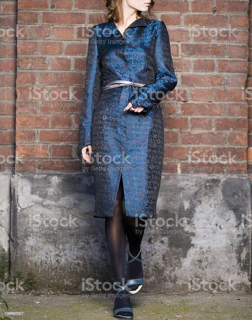 woman dressed in metalic blue royalty-free stock photo
