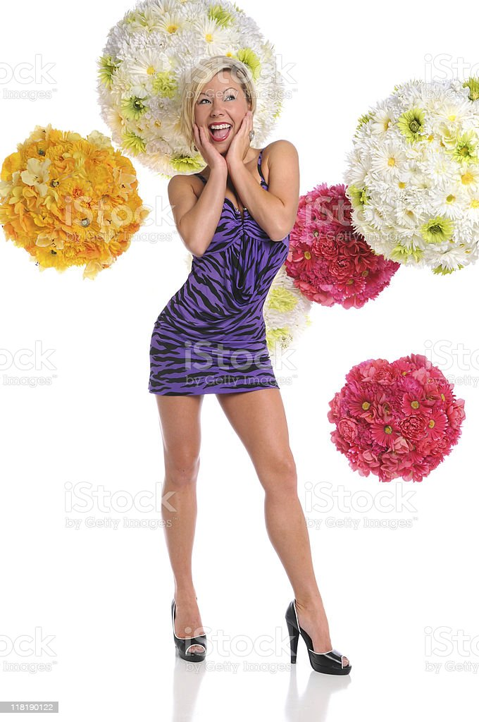 Woman Dressed in Purple Dress stock photo