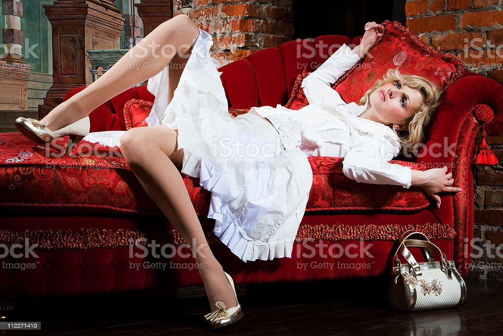 woman dressed in white royalty-free stock photo