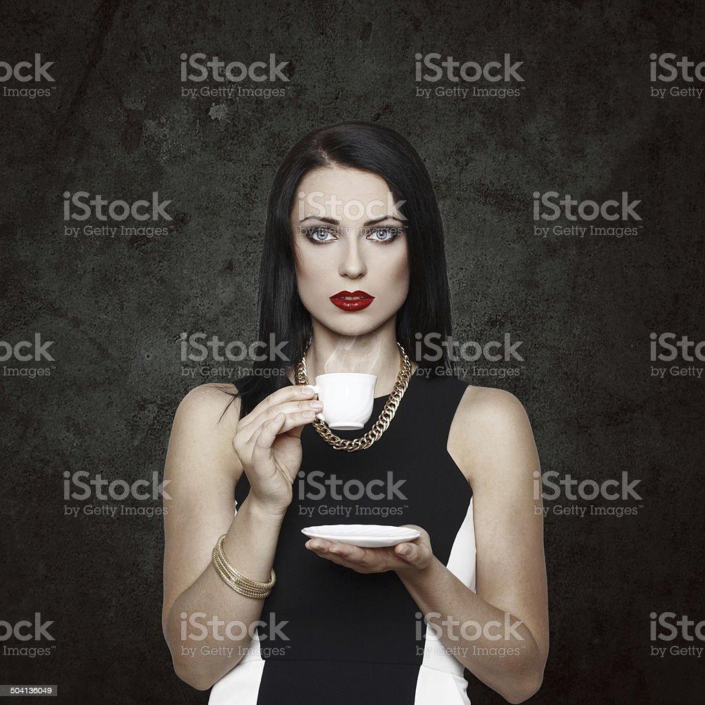 Woman drink coffee royalty-free stock photo