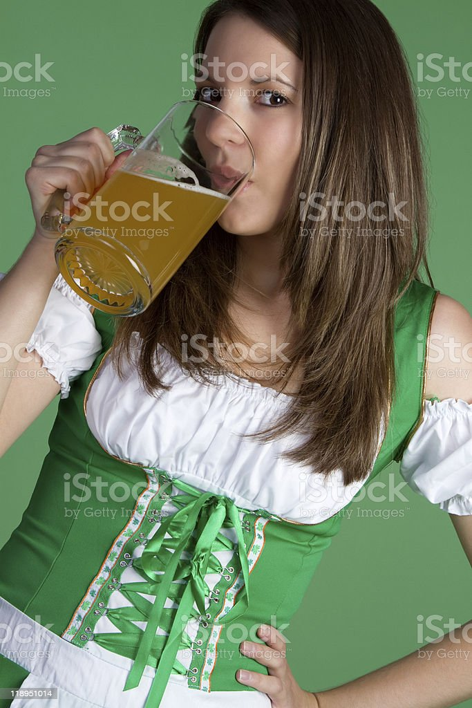 Woman Drinking Beer royalty-free stock photo