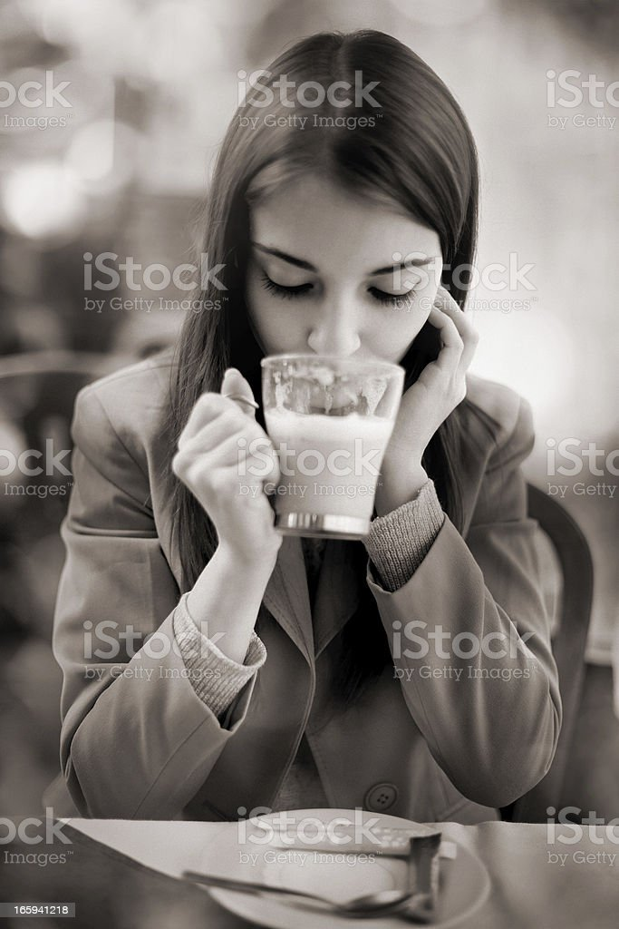 woman drinking coffee latte royalty-free stock photo