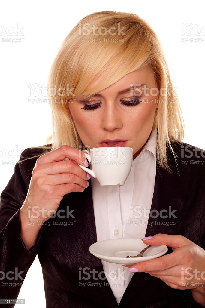 Woman drinking coffee. royalty-free stock photo