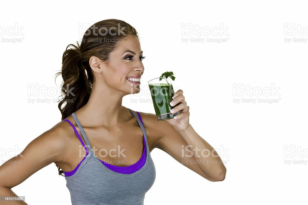 Woman drinking freshly juiced drink stock photo
