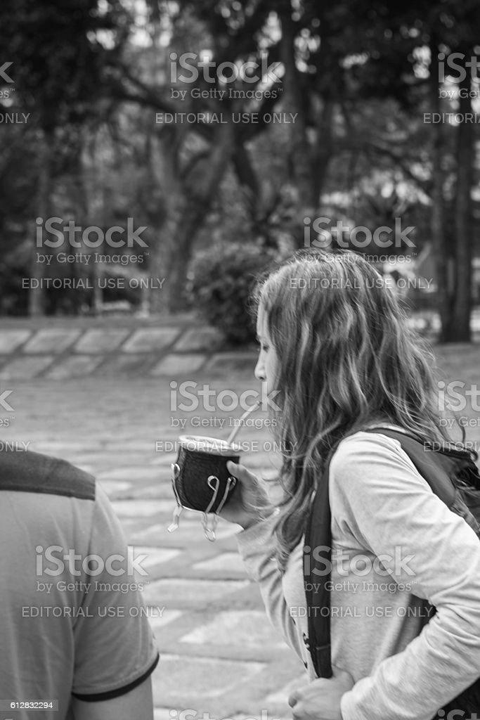 woman drinking traditional mate at santa clara cuba stock photo