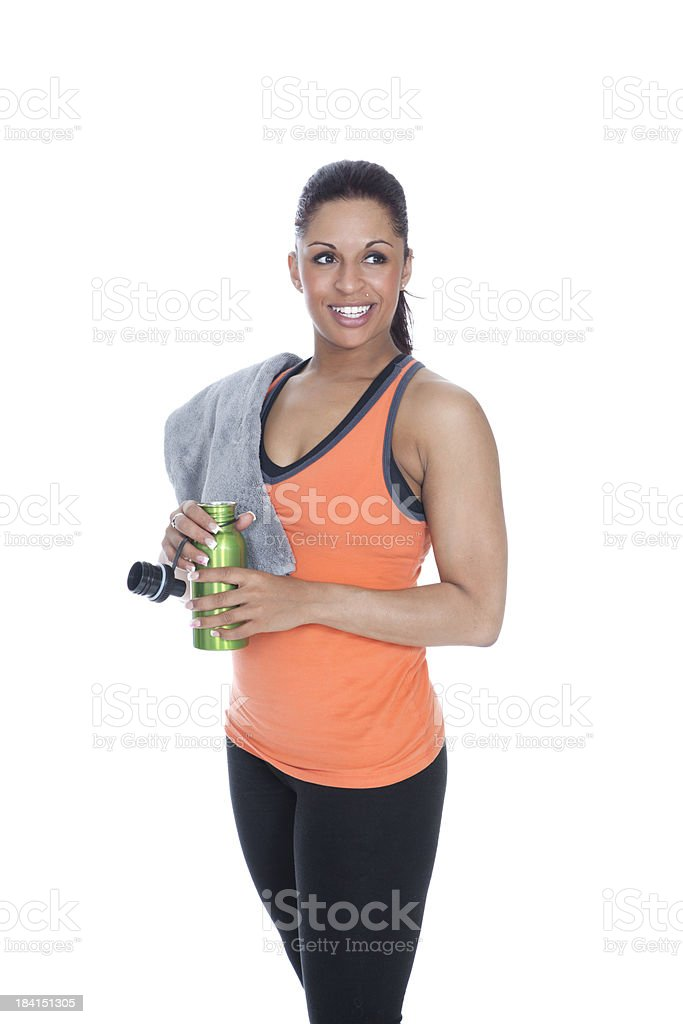 Woman Drinking Water During Workout royalty-free stock photo