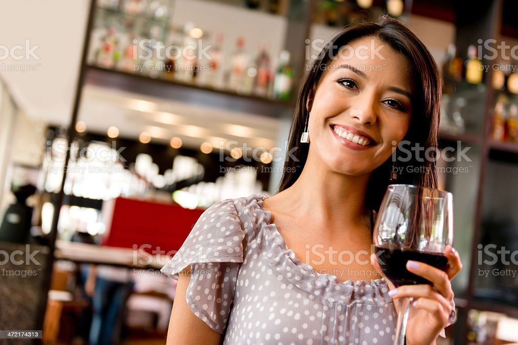 Woman drinking wine royalty-free stock photo